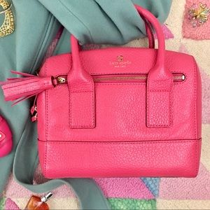 Kate Spade Hot Pink Pebble Leather Satchel EUC